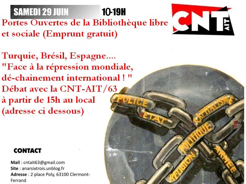 29 juin de 10 à 19h : Portes Ouvertes de la bibilothèque sociale et débat sur la répression (15h) 29-juin-v2