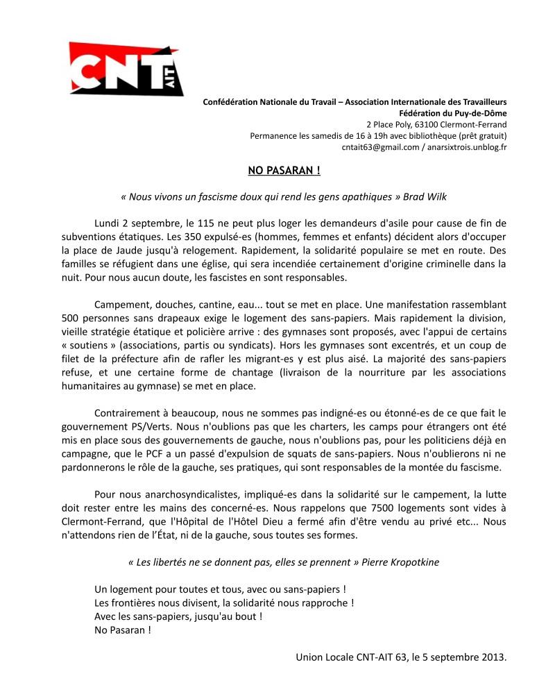 Solidarité avec les occupant-es de la Place de Jaude ! communique1