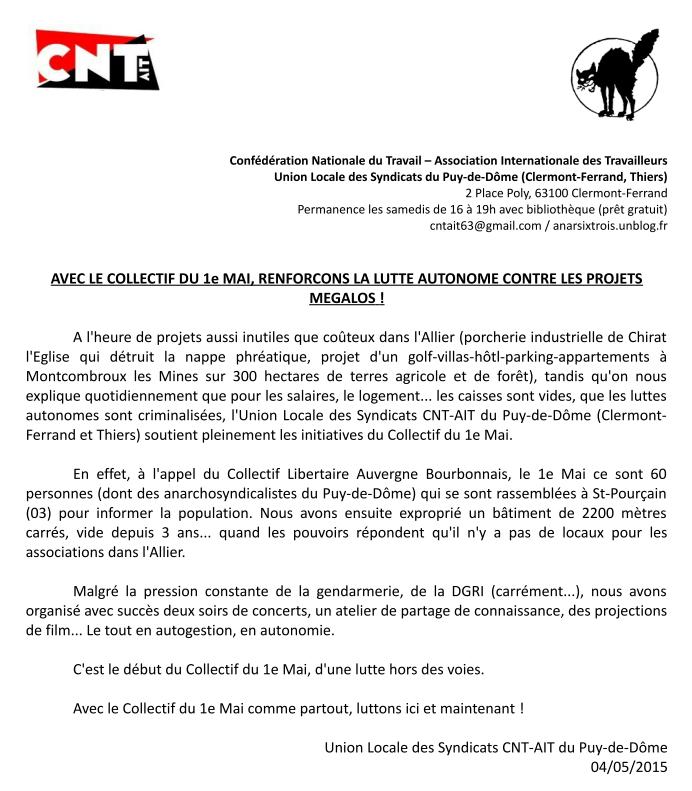 communique CNT AIT-63 avec le collectif du 1° mai, renforcons la lutte autonome contre les projets mégalos
